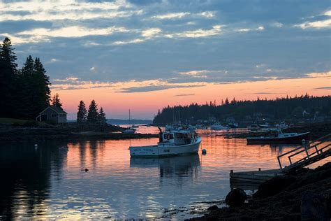 port clyde maine fishing boats  sunset photograph