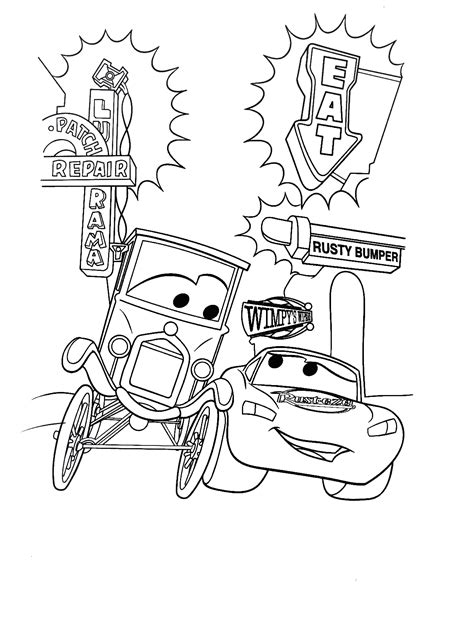 lightning mcqueen  lizzie coloring sheet coloring