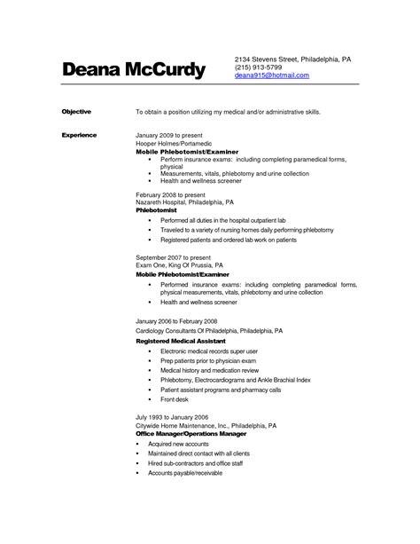 phlebotomy resume exle sidemcicek