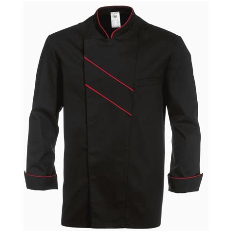 Veste Cuisine Grand Chef Noir Avec Passepoil Et Rayures Rouge