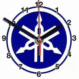 Logo Moto Yamaha Bleu En Horloge Murale