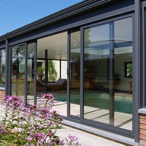 aluminum frame tempered glass sliding patio door zhongtai