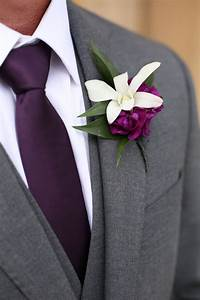 White Orchid, Purple Peony Boutonniere | All My Wedding ...