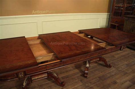 mahogany  walnut dining room table   storing leaves gold trim detail ebay