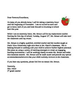 maternity leave letter  brownie treats teachers pay
