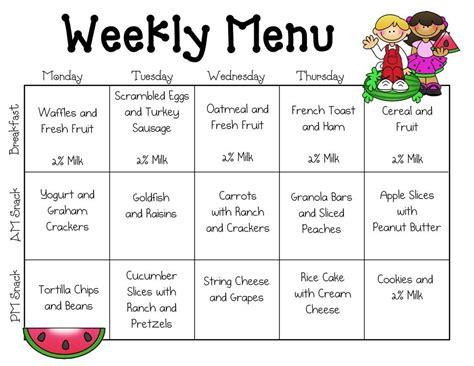 Daycare Food Menu Template Food