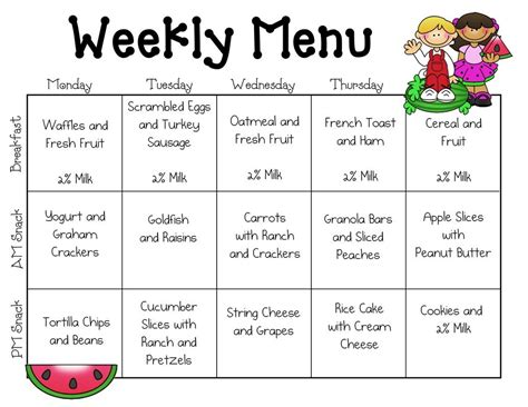 pin ebony paige menu toddler menu daycare menu preschool snacks