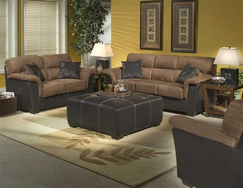 Unique Living Room Area With Two Tone Black Brown Couch