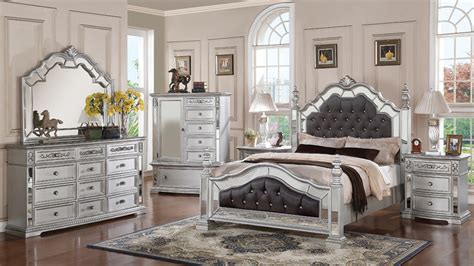 36911 glass bedroom furniture gloria mirrored complete bedroom set