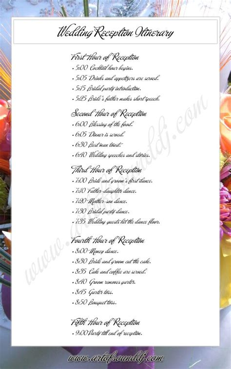 wedding reception itinerary great idea takes