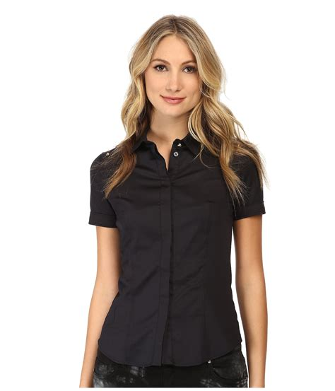 up blouse lyst versace sleeve button up blouse in black