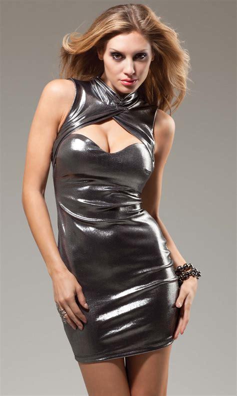 Edinburgh Metallic Turtleneck Dress Sexy Club Dresses