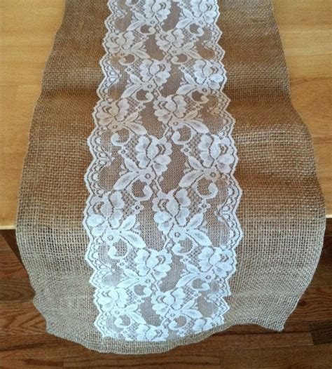 burlap table runner with lace 84 quot burlap lace table runner with a variety of lace