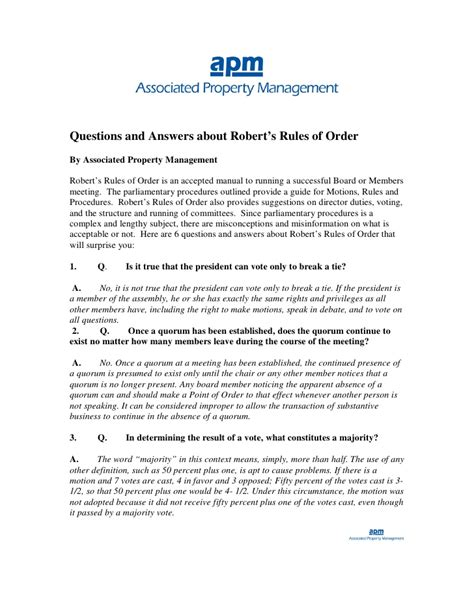 questions  answers  roberts rules  order