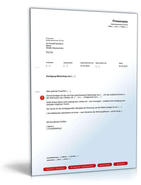 kündigungsschreiben mietvertrag vermieter k 252 ndigung mietvertrag zimmer fristgem 228 223 muster zum