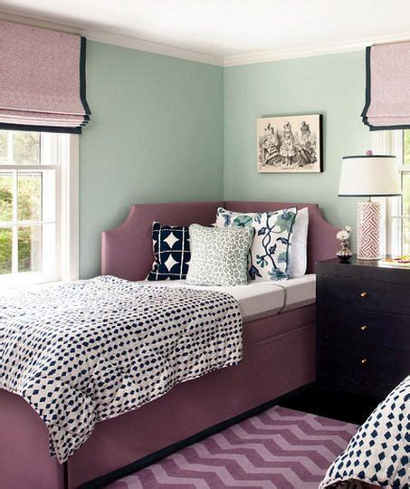 purple and green bedroom ideas green wall color scheme and purple beds in small teenage 19531 | 6b987529e2fce7ca889bde803c0e7c72