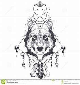 Loup Tatouage Geometrique : illustration d 39 une vue de face d 39 une t te de loup croquis g om trique d 39 un tatouage ~ Melissatoandfro.com Idées de Décoration