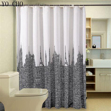 waterproof bathroom curtains white black polyester shower