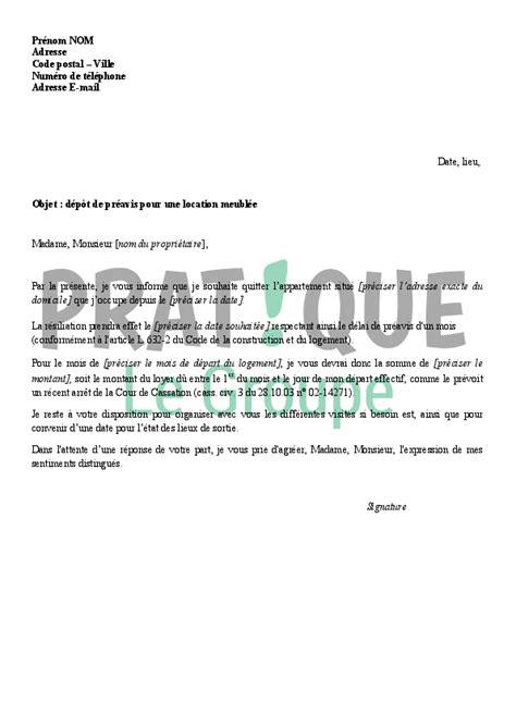 modele lettre préavis 1 mois lettre de d 233 p 244 t de pr 233 avis pour une location meubl 233 e