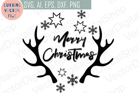 merry christmas antlers svg deer cutting files vector svg png jpg eps ai dxf