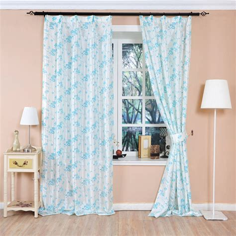 baby blue leaf and floral print curtains