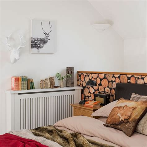 Woodland Bedroom With Log Wallpaper Decorating