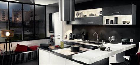 cuisine en noir et blanc cuisine urbaine une déco façon loft en noir et blanc