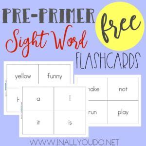 Preprimer Sight Word Flashcards  In All You Do