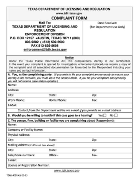 tdlr complaints fill  printable fillable blank