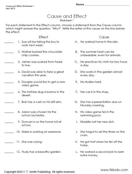 Cause And Effect Worksheet 4th Grade Worksheets For All  Download And Share Worksheets Free