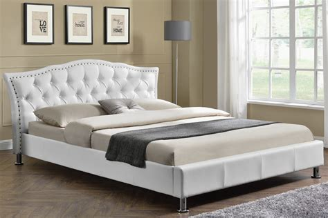 Bed Size by White Faux Leather Designer Bed Frame