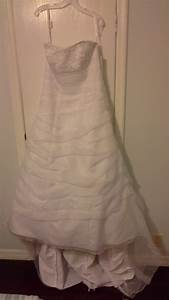 David39s bridal l9479 white organza strapless corset size for Used wedding dress stores