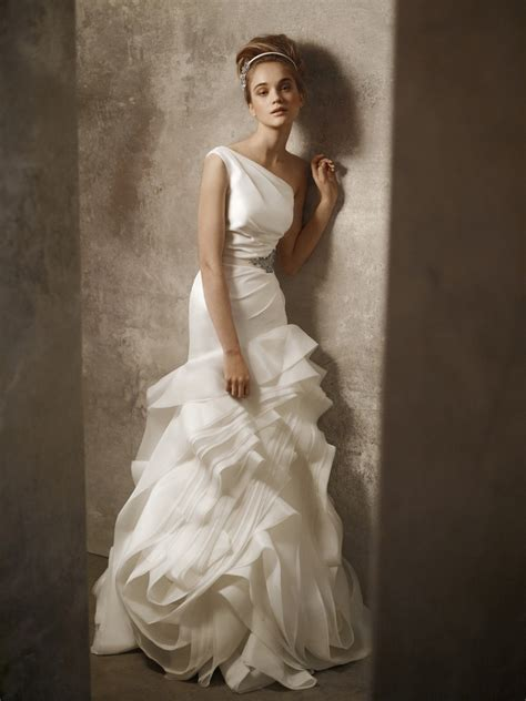 One Shoulder Ivory Drop Waist Wedding Dress By White By
