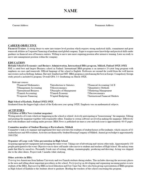 resume objective sle resume ideas