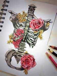 Skeleton and Flower Drawing