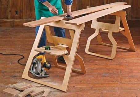 fold flat sawhorses woodsmith plans workbenches