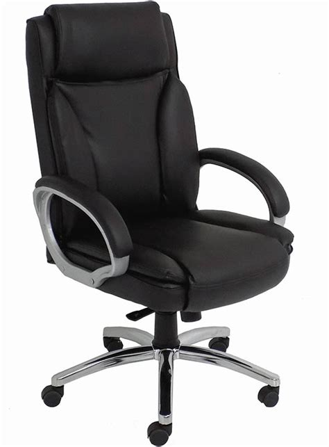 black leather big office chair w 350 lb capacity