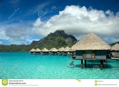 Overwater Bungalow At Tahiti Stock Photo