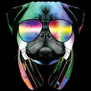 DJ Pug Dog With Headphones Sunglasses T Shirt Neon Colors