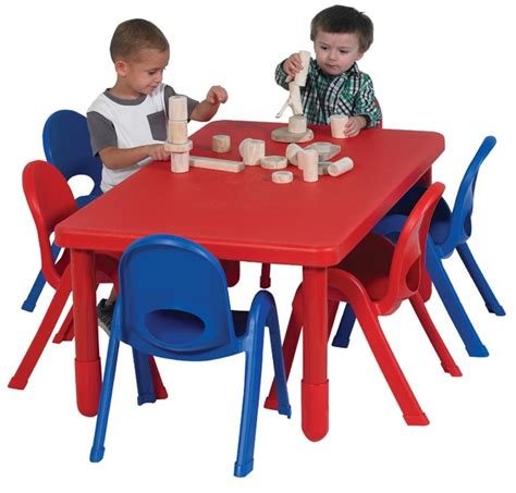 angeles myvalue preschool rectangle table and chairs set 354 | ab705206 myvalue plastic red table stack chair set preschool classroom angeles