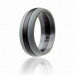 SOL Silicone Wedding Ring For Men Black With Grey High