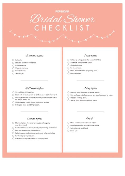 bridal shower checklist printable