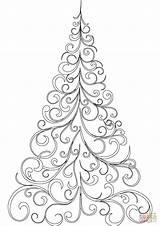 Coloring Tree Swirly Drawing Outline Printable Children Crafts Trees Template Pattern Mandala Noel Yılbaşı sketch template
