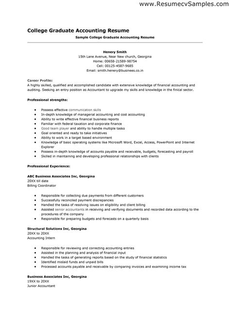Accounting Graduate Resume by Resume For Recent College Graduate Berathen