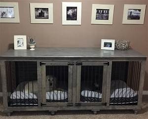 Divider interesting double dog crate double doggie den for Double dog crate furniture