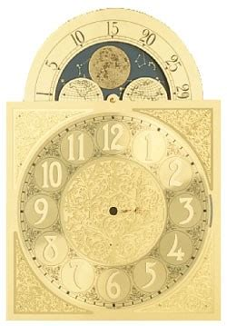 moving moon clock dial  hermle   cm mechanical