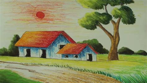 easy landscaping drawings easy scenery colour drawing drawing of sketch