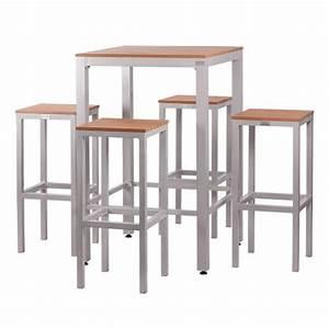 Set tavolo alto e 4 sgabelli in alluminio e piani listellari LUNO