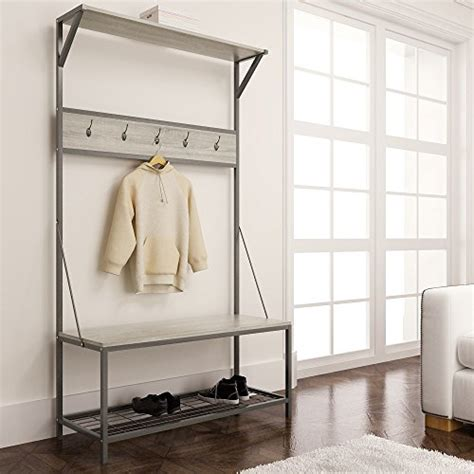 Entryway Bench With Shoe Storage And Coat Rack by Weathered Oak Metal Entryway Shoe Bench With Coat Rack