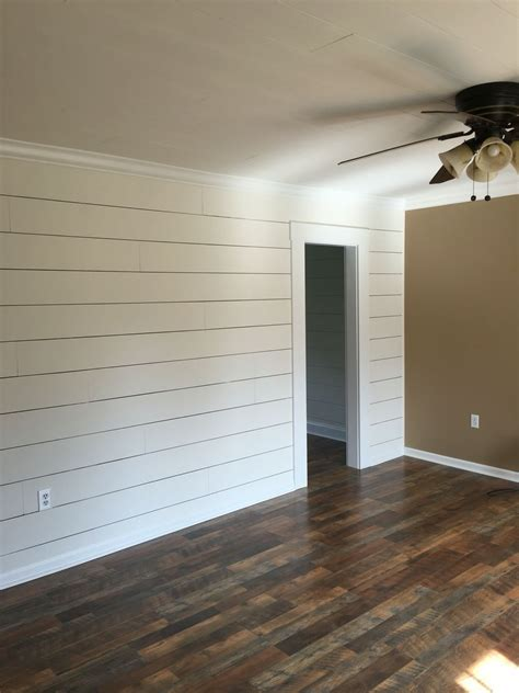 Shiplap Wood Flooring by Client Remodel Faux Shiplap Wall With Larger 1 8 Quot Spacing